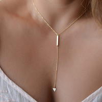 New vintage gold plated necklace chain jewelery fashion necklaces for women 2016 triangle tassel necklace tassels neckless women