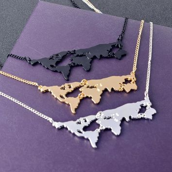 World Map Necklace Christmas Gift Earth Day Gift World Travel World Silhouette