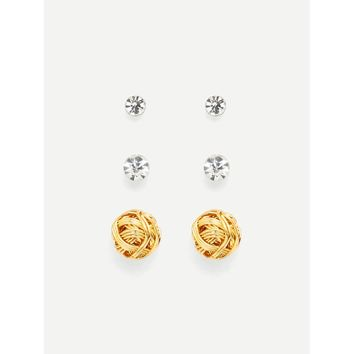 Rhinestone & Ball Design Earring Set
