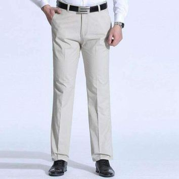ICIKON3 1519 plus size 38 40 middle aged dad casual business pants men straight trousers loose cotton polyester
