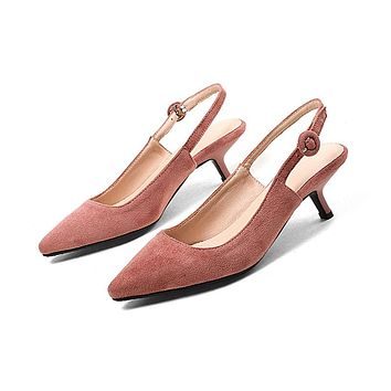 Pointed Toe Mid Heel Slingbacks Sandals Summer Shoes 3668