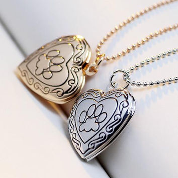 New Arrival Valentine Lover Gift Animal Dog Paw Print Photo Frames Can Open Locket Necklaces Heart Pendants fit Necklace Women