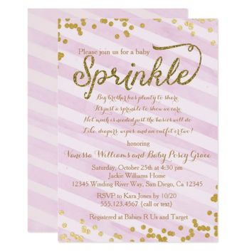 Pink and Gold Girl Baby Sprinkle Shower Invitation
