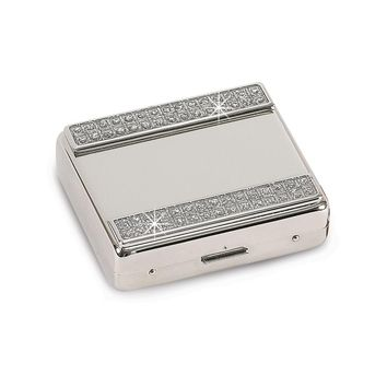 Nickel-plated Glitter 8-day Pill Box - Engravable Personalized Gift Item