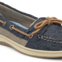 Sperry Top-Sider Angelfish Anchor Embossed Slip-On Boat Shoe NavyAnchorLeather, Size 6M  Women's Shoes