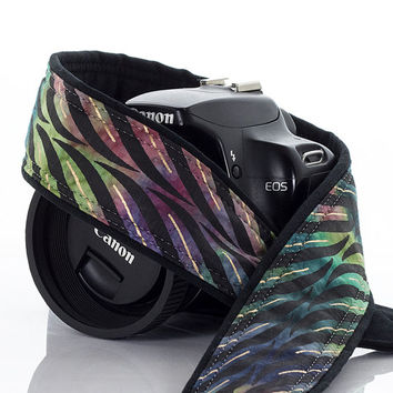 SLR Camera Strap, dSLR, Batik Stripe, Mirrorless, Camera Neck Strap, Mens camera strap, Photography, Canon strap, Nikon Strap, Tie Dye,  240