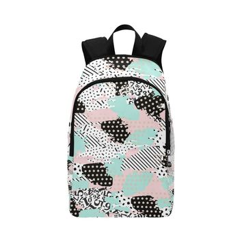 Pastel Pink Abstract Pattern Fabric Backpack