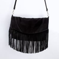 SUEDE LEATHER MESSENGER BAG WITH FRINGES