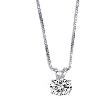 Solitaire Hearts and Arrows Cubic Zirconia Pendant Necklace