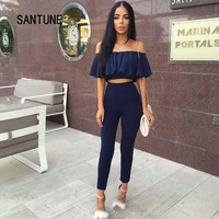 Santune Blue Winered Wrapped Chest Jumpsuits Womens Summer Two Piece Rompers Women Jumpsuit Overalls Outfit Clubwear Playsuit