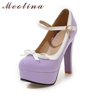 Meotina Lolita Shoes Women Platform Shoes Bow Mary Janes High Heels Black Pumps Buckle Strap 2018 Party Shoes Ladies Purple Pink