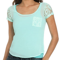 Chiffon Lace Dolman Top | Shop Junior Clothing at Wet Seal