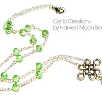 Viking Necklace, Celtic Knot Jewelry, Green Crystal Beaded Necklace, Norse Nordic Pagan, Unisex Jewelry, Silver Y-Necklace, Artisan Made