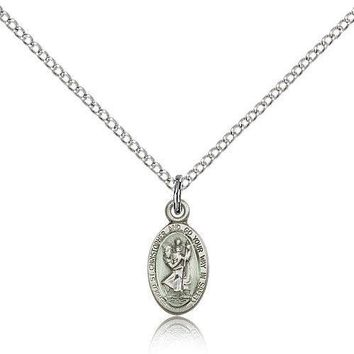 "Saint Christopher Medal For Women - .925 Sterling Silver Necklace On 18"" Chai... 617759770872"