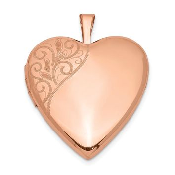 925 Sterling Silver Rose Gold-plated 20mm Polished Swirl Heart Locket