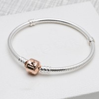 Authentic 925 Sterling Silver Pandora Bracelet Rose MOMENTS With Rose Barrel Clasp Bracelet Bangle Fit Women Charm DIY Jewelry