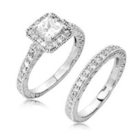 Sterling Silver Engagement Wedding Ring Set Princess Cut Cubic Zirconia CZ 1.1 ct.tw - Nickel Free