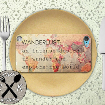 Wanderlust Definition Quote Travel World Map Vintage Custom Rubber Case iPod 5th Generation and Plastic Case For The iPod 4th Generation