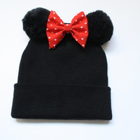 Minnie Mouse Slouch Beanie, Hat with minnie ears, Minnie ears, slouched beanie, beanie with bow, grunge minnie mouse,