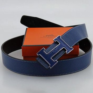 Hermes Woman Men Trending Smooth Buckle Belt Unisex Leather Belt Blue I
