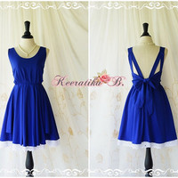 A Party Dress V Dress Royal Blue Dresses Backless Party Dress Gorgeous Prom Dress Wedding Bridesmaid Dress White Lace Layers Custom Made