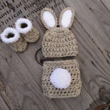 Oatmeal Newborn Bunny Outfit Baby Photo Prop