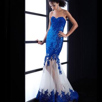 Royal Blue Strapless Sequin & Lace Mermaid Dress