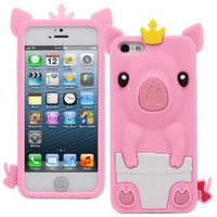 Fosmon JEL Series Silicone 3D Pig Case for Apple iPhone 5 / 5S (Baby Pink)