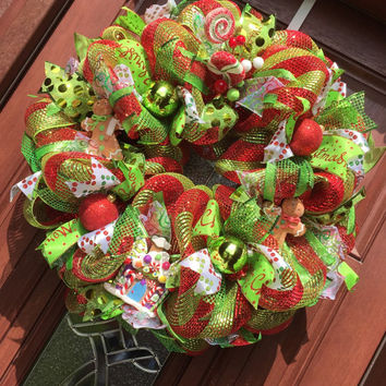 Christmas Wreath - Gingerbread Man Wreath Candy Wreath - Deco Mesh - Red and Green - Holiday Wreath Xmas wreath christmas decor
