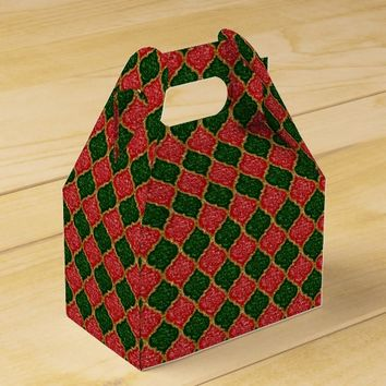 MQF-Sequins-Red-Dark Green-Gold-Gable Favor Boxes