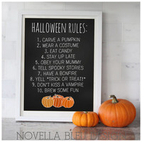 Halloween Rules Printable art print wall art digital decor poster halloween party decoration fall decor autumn chevron INSTANT DOWNLOAD