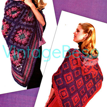 INSTANT DOWNLOAD Pdf 2 Retro Granny Square Shawls 1970s Vintage CROCHET Pattern Vintage Beso about 2 steps above easy crochet pattern lovely