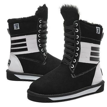ESBON UGG 5088 Tall Lace-Up Piano Women Fashion Casual Wool Winter Snow Boots Black-White