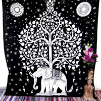 tapestries,hippie tapestries,indian tapestries,bohemian tapestry,  Tree of life elephant tapestry,wall art,psychedelic tapestry,dorm decor