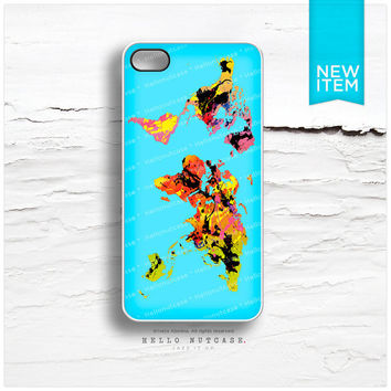 iPhone 4 and iPhone 4S case Abstract Colored World Map I16