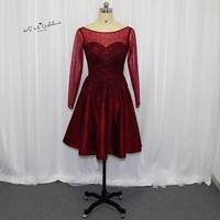 Burgundy Long Sleeve Prom Dresses Short Sequined Lace Homecoming Party Dress Formal Gowns Beaded Vestido de Festa Curto 2018