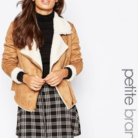 New Look Petite Faux Shearling Biker Jacket
