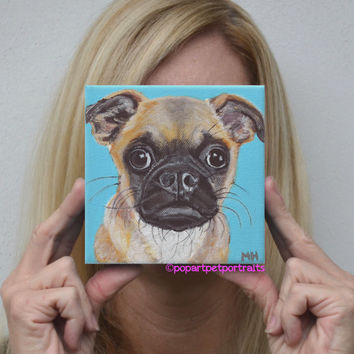 Personalized pet portrait pet portrait Pop art pet portrait of dog Pug painting pug art dog portrait dog painting modern portrait dogs