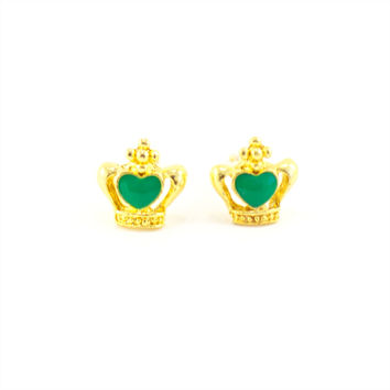 Crown and Glory Earrings (Green)