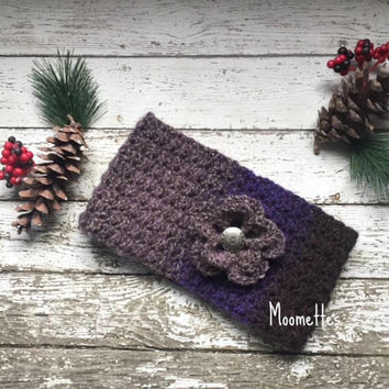 Handmade Ear Warmer Crochet Violet Purple Grey Gray Nordic Earwarmer Headband Messy Bun Warmer Ponytail Head Band