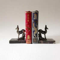 Bookends, art deco,  french vintage, shabby chic, french decor, books, desk decor, french collectibles, animal sculpture, french antiques