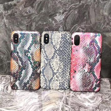 One-nice™ Deluxe phantom snakeskin iphonex mobile phone shell apple 7plus individual leather cover 8/6s