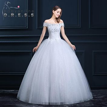 Boat Neck A Line Wedding Dresses 2017 Tulle Appliques Beaded Sequined Greek Style White Dress Lace-Up Floor Length