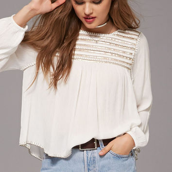 Striped Sequin Peasant Top