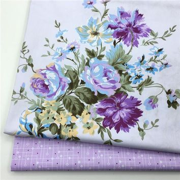 100% cotton twill elegant big purple flowers floral fabrics for DIY crib bedding apparel girl dress quilting handwork decoration