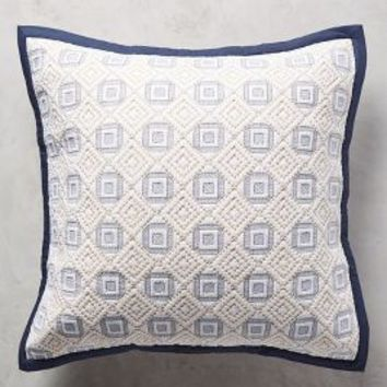 Diamond-Stitched Euro Sham in Navy Blue Euro Sham Size Bedding by Anthropologie