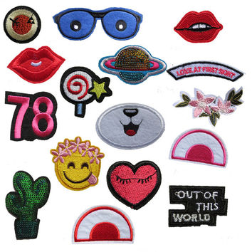 16 kind different fashion style cartoon high quality hot melt adhesive applique embroidery patch DIY clothing accessory patch