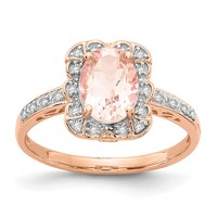 14k Rose Gold Morganite Ring w/ Diamond & Pink Sapphire Accents