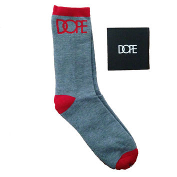 Dope Couture Logo Grey with Red Socks
