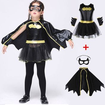 Batman Kids Girls Tutu Dress Cloak Mask